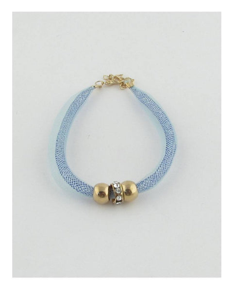 Stretch color mesh bead ball bracelet