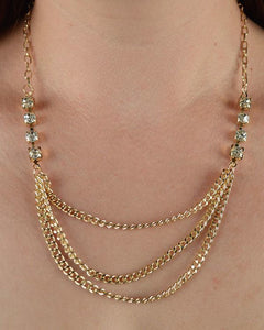 Layered Chain Necklace w/ Rhinestone Detail