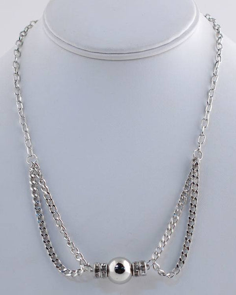 Double Strand Rhinestone Detailed Necklace