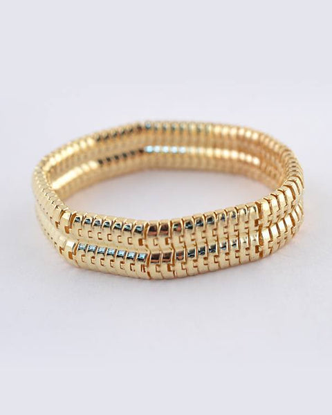 Link Chain Stretchy Gold Tone Bracelet