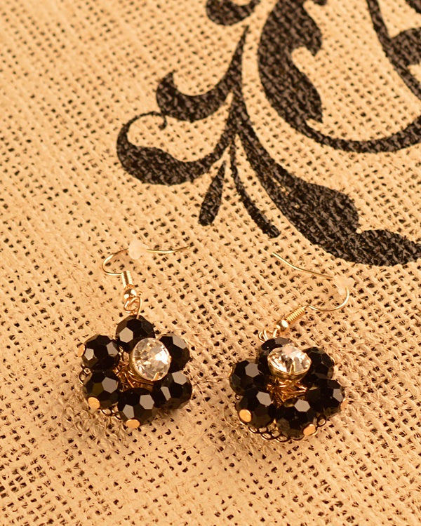 Floral Drop Earrings with Rhinestones