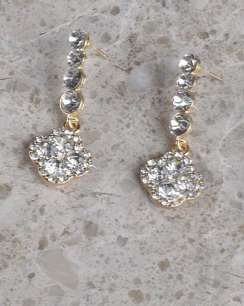 Quatrefoil Rhinestone Dangle Earring