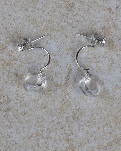 Clear Crystal Drop Earrings with Post Nut Closure