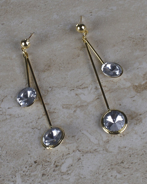 Rhinestone Studded Drop Earrings with High and Low Strands-id.30527