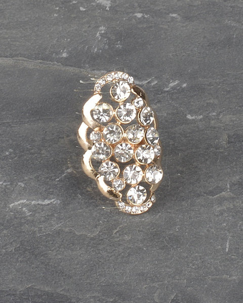 Adjustable Crystal Studded Oval Shaped Ring