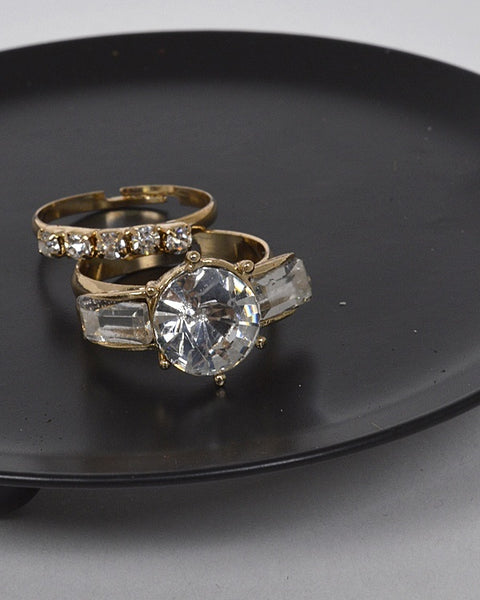 Combination of Two Adjustable Stone and crystal Studded Rings