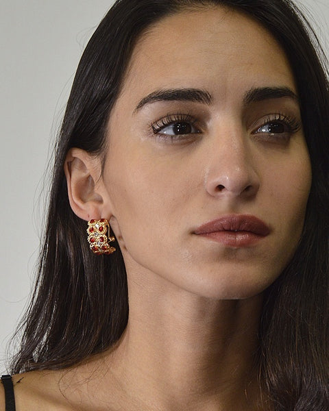 Half Moon Stone Studded Earrings