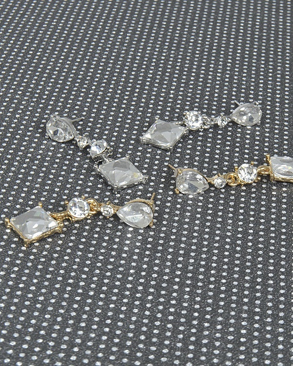 Crystal Studded Drop Earrings with Multiple Pattern