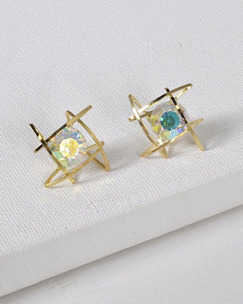 Crystal Accent Intertwined Ring Structure Earrings