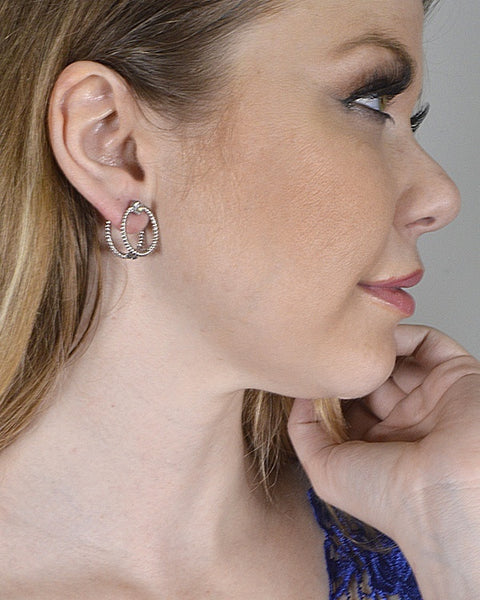 Double Circle Crystal Accent Textured Earring