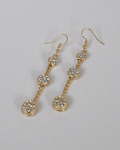 Three Tier Crystal Accent Drop Earrings