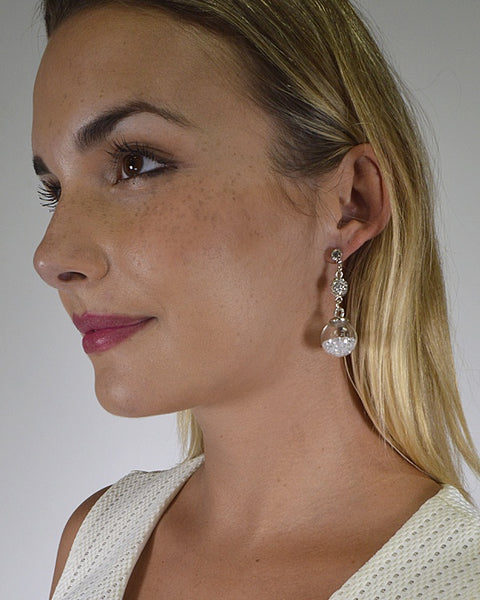 Crystal and Stone Embellished Drop Earrings with Post Back Closure id.31480