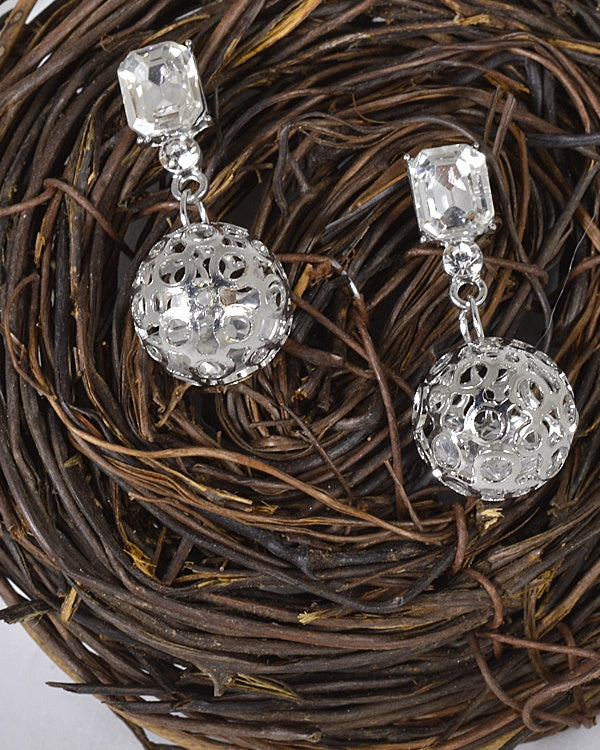 Metallic Cage Crystal Studded Drop Earrings id.31482