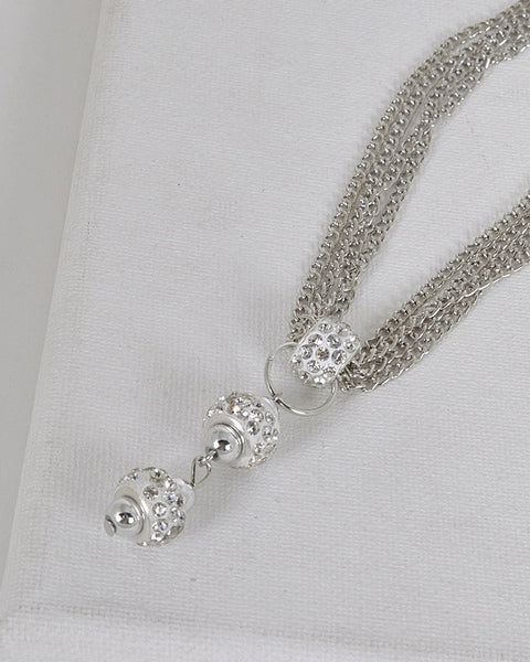 Rhinestone Studded Pendant with Multi Link Chain Necklace id.31592