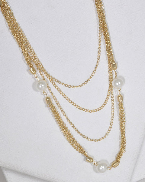 Multiple Strand Pearl Embellished Curb Chain Necklace