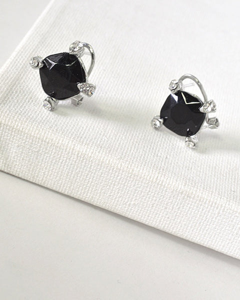 Crystal and Stone Embellished Stud Earrings