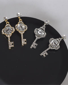 Crystal and Stone Studded Key Shaped Drop Earrings