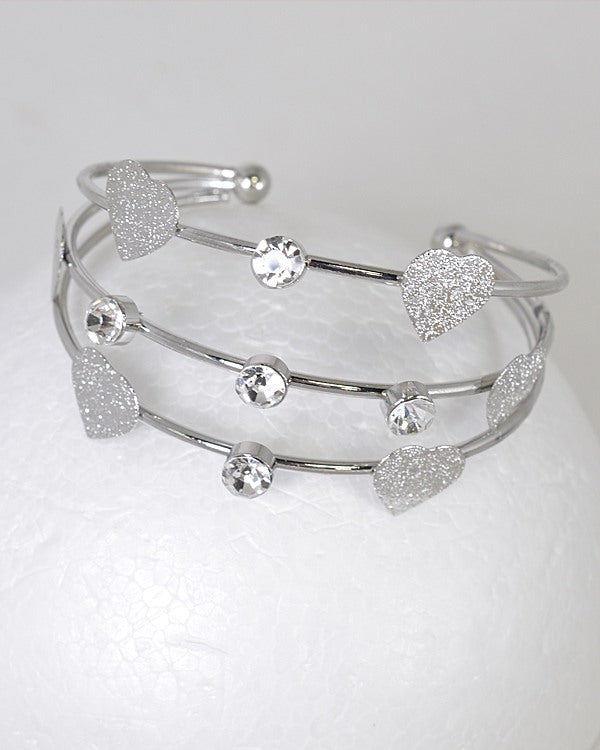 3 Layer Crystal Heart Charm Adjustable Cuff Bracelet