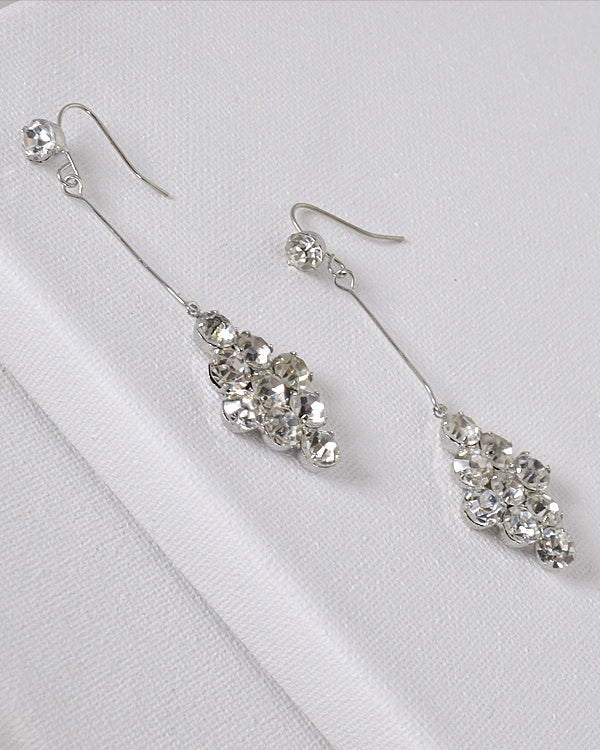 Rhombus Shaped Crystal Embellished Drop Earrings
