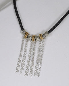 Metal Detailing Fringe Design Braided Necklace