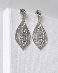Crystal and Rhinestone Embellished Drop Stud Earrings