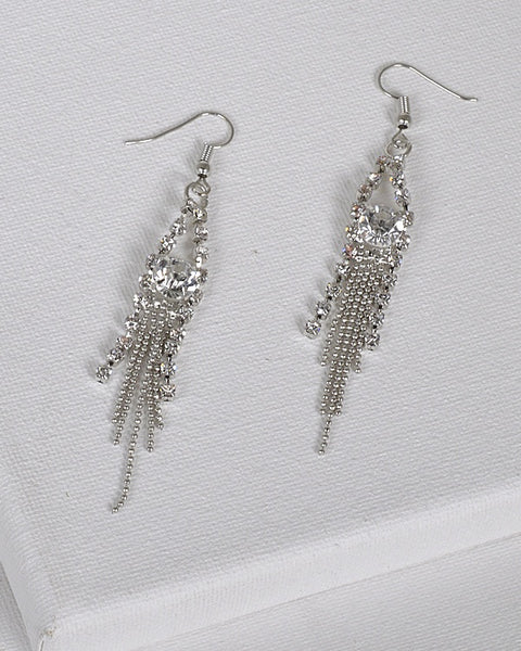 Rhinestone and Ball Chain Fringe Design Danglers