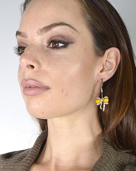 Bow Design Drop Earrings with Post Back Closure