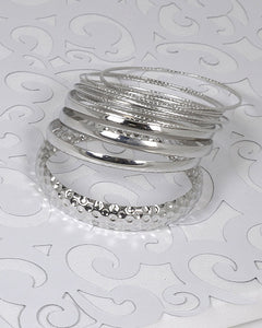 Set of Textured and Solid Bangles