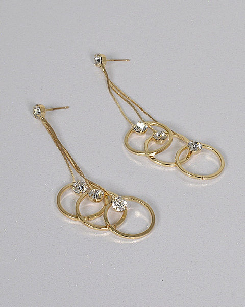 Multi Circle Crystal Embellished Drop Earrings
