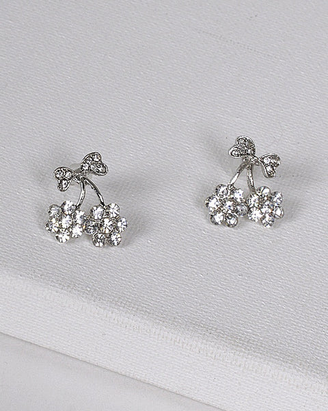 Crystal Decorated Bow Accented Drop Earrings