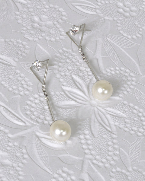 Crystal and Rhinestone Studded Pearl Drop Earrings