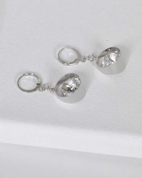 Crystal Studded Ring Design Earrings with Lever Back Closure