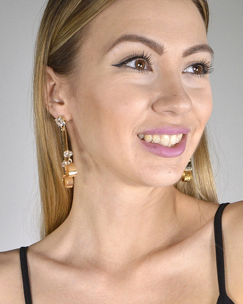 Crystal Studded Metallic Panel Design Drop Earrings