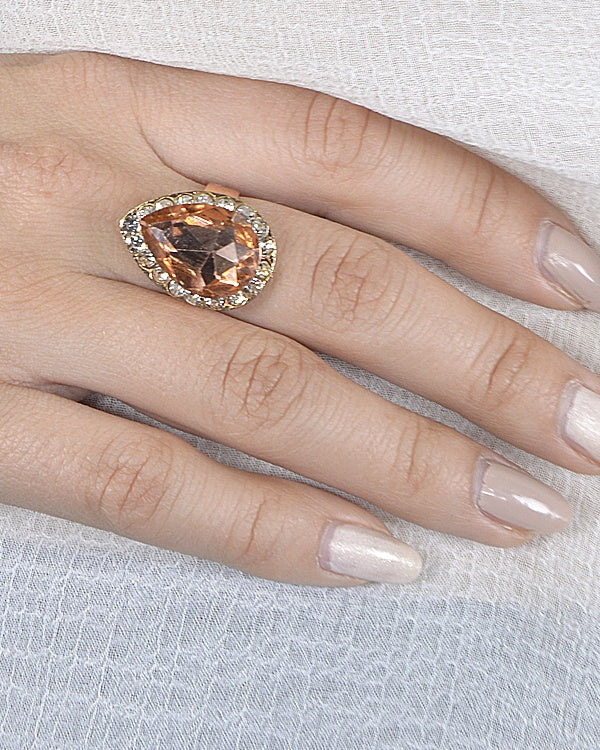 Tear Drop Shaped Crystal Ring with Rhinestone Embellishment