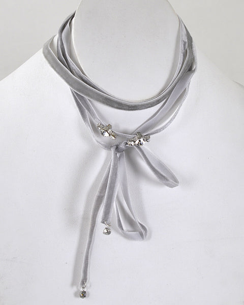 Crystal Accent Tie Up Pattern Choker Necklace