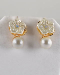 Floral pattern Pearl Embellished Drop Earrings
