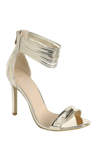 Ladies fashion simple, sophisticated and simply chic. high heel sandal, peep almond toe, stiletto heel, buckle closure