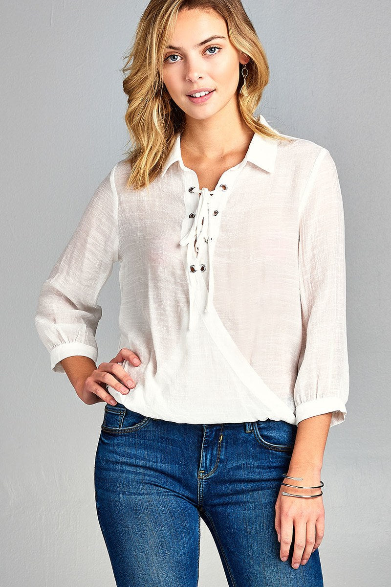 Ladies fashion 3/4 sleeve shirt collar w/lace detail surplice slub gauze woven top