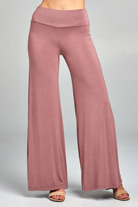 Ladies fashion waist band flared leg rayon spandex jersey long pants