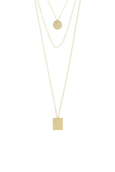 Square and circle disks multi layer necklace