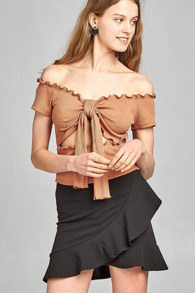 Ladies fashion short sleeve off the shoulder front keyhole w/self bow tie merrow hem knit top
