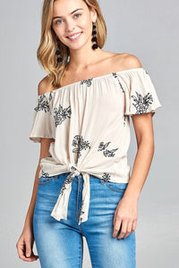 Ladies fashion flounce off the shoulder front self tie all over embo crinkle gauze woven top