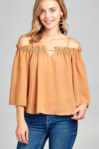 Ladies fashion bell sleeve open shoulder georgette chiffon woven top