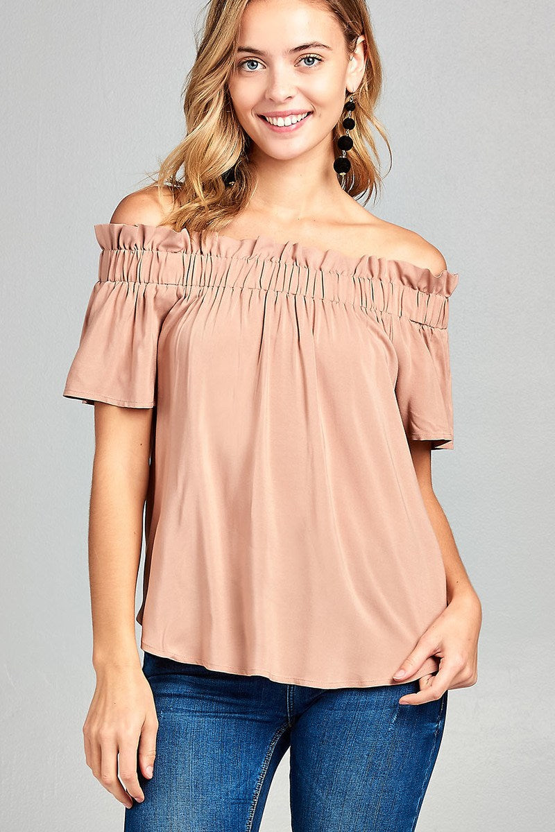 Ladies fashion elastic bubble hem rayon challis woven top