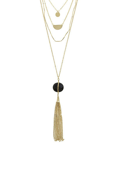 Chain tassel wire wrapped semi precious stone necklace