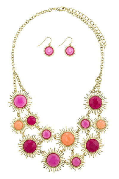 Faux gem sunburst link necklace set