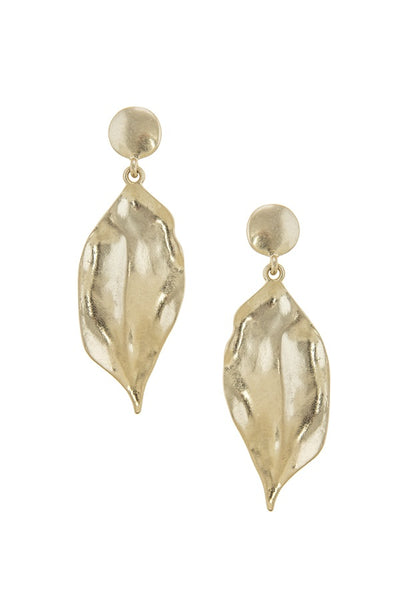 Irregular leaf shape drop earrings