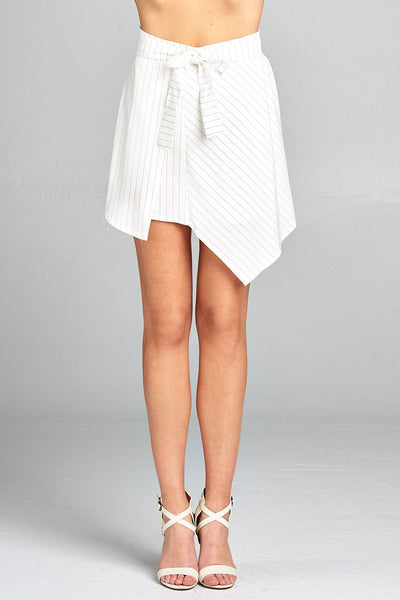 Ladies fashion waist bow tie asymmetrical pinstripe skirt