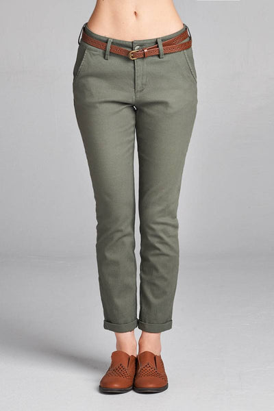 Ladies fashion cotton spandex twill long pants w/belt