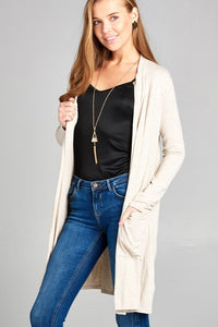 Ladies fashion long sleeve open front w/pocket long length rayon spandex cardigan